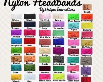 ADULT Nylon Headbands / Teen Nylon Headbands / Solid Nylon Headband / Headband Supplies / Adult Turban / Headwrap / Hairband / You Choose