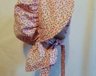 Women's Pink Calico Pioneer Bonnet