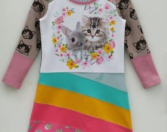 Size 4 upcycled girls kitten bunny dress, girls clothing, children's clothing,kidsclothes, kids, girl, girls dress, upcycling, pussycat