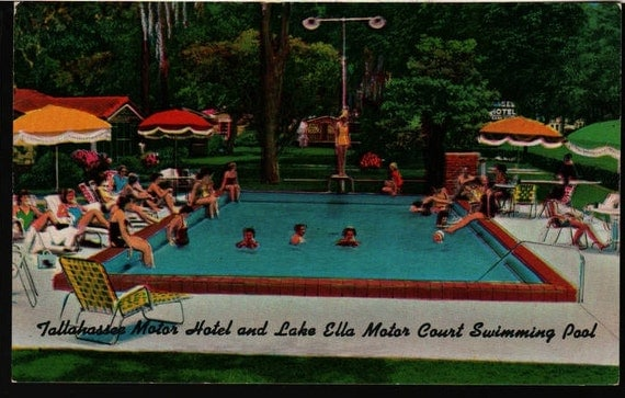 Tallahassee Motor Hotel and Lake Ella Motor Court Swimming Pool - Tallahassee, Florida - Vintage Postcard