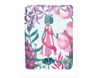 Cat Illustration Art Print - Helter Skelter Helga - Fairground fairytale fantasy surreal  - cats nursery A4 / A3 /  8 x 10 / A5 - print