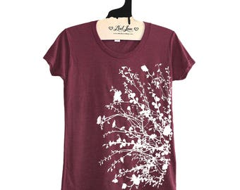 SALE Fitted Small -  Soft  Tri-blend Maroon Ladies Tee with Flowering Branches Print -