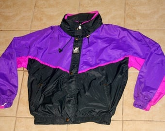 K-Way 2000 Purple Black Pink Full Zip Windbreaker Jacket Medium Vintage 1990s