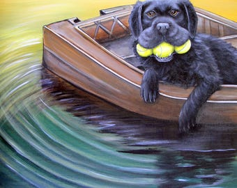 Large Original Modern Dog Painting of Black Lab with Tennis Balls by Carol Iyer