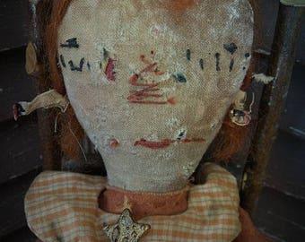 MUSTARD SEED ORIGINALS, Raggedy Ann, Star, Moon, Fall, Halloween, Orange, Mustard, Cloth Doll by Sharon Stevens