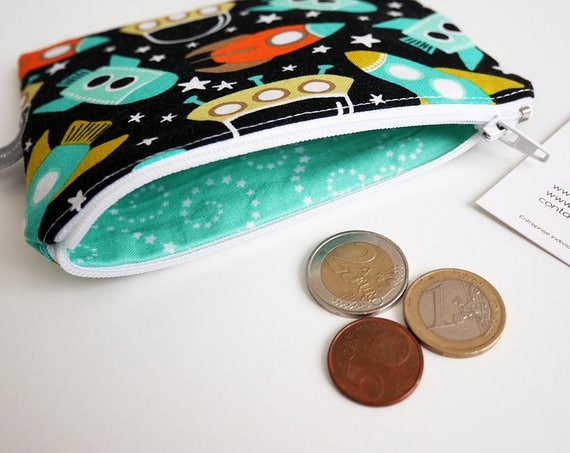 Coin purse - mini zippered pouch - space - spaceship - ufo - stars - black - turquoise - handbag - bag - purse - gift for girls - Christmas
