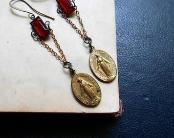 anima -gold rosary earrings virgin mary earrings repurposed jewelry ruby red rhinestone earrings repurposed earrings mixed metal earrings