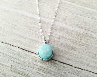 Druzy Necklace, Blue Druzy Necklace, Sterling Silver Necklace, Boho Necklace, Aquamarine Necklace, Gift for Her