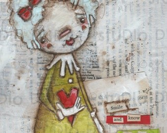 Original Folk Art Mixed Media m Valentine Cereal Box Art - Smile and Know - Free U.S. Shipping