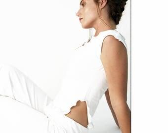 SLIT SIDE TOP cap sleeve shirt| hand made| women's tshirt| summer styles| cropped shirt| white tshirt| bohemian design| independent designer