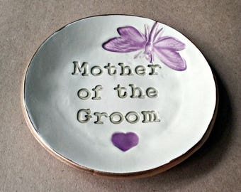 Mother Of Groom Gift Made To Order  edged in gold trinket dish