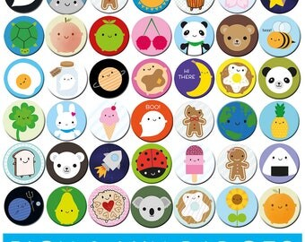 Pick and Mix Kawaii Badges - choose any 1, 2, 4 or 10 designs
