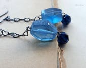 I Only Have Eyes for Blue - Vintage Glass, Recycled Glass and Sterling Silver Earrings - Heart Chain