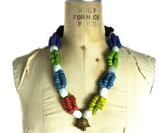 African Handmade Glass Trade Beads Vintage Chunky Multi Strand Necklace with Brass Bell Ethnic Tribal Hippie Boho Gypsy Bohemian Long Beaded