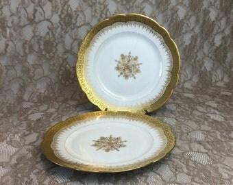 "D & C Limoges France Salad Plates, Set of 2, Bernardaud Antique Gold Encrusted 8"" Scalloped Dishes with Center Medallion"