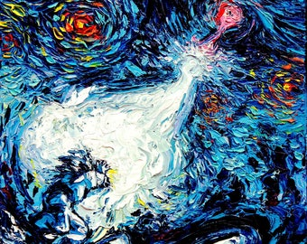 Dragon Ball Z Art - Starry Night print van Gogh Never van Gogh Never Saw A Power Level Over 9000 by Aja 8x8, 10x10, 12x12, 20x20, and 24x24