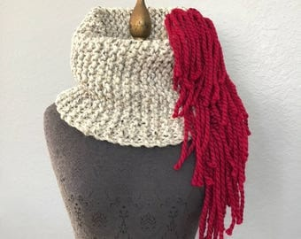 Moulin Rouge Cowl Hand Knit in Oatmeal and Red by Fringe