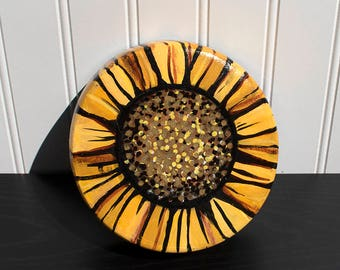 Sunflower Wall Hanging or Jewelry, Ring, Coin or Key Dish - Upcycled Wooden Bowl - HandPainted Floral Decor - Flower Bowl by Claudine Intner