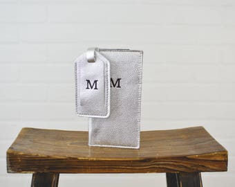 Silver Plata Leather Travel Wallet + Luggage Tag Set |  Travel Gift for Girlfriend  Her Woman Leather for her Gift Set for Bride Mom Wife