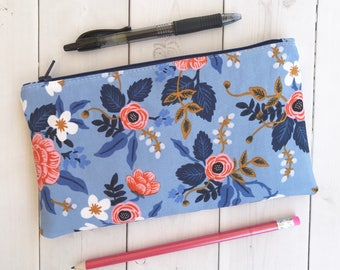 Floral Pencil Pouch Floral Pencil Case School Supplies Gift For Her Rifle Paper Co Back To School Blue Zipper Pouch Makeup Bag
