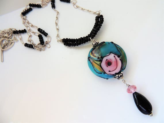 Watercolor Rose Pendant Necklace on sterling chain with spinel and Swarovski Crystals