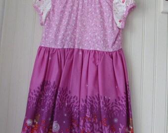 Wee Wander Pink Print Dress Sarah Jane Fabric Size Girl 5 Short Sleeves