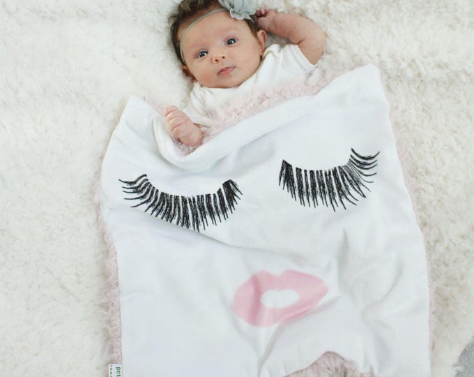 Custom Baby Blanket eyelashes and lips faux fur minky lovey baby gift cloud blanket llama newborn gift plush photo prop by PETUNIAS