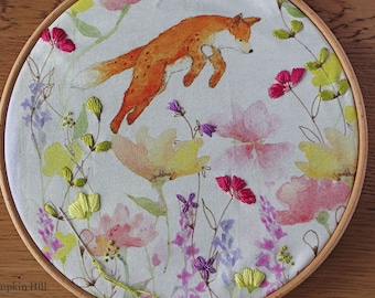 JOY - Fox & Flower Embroidery Kit - Hand Embroidery Pattern, Craft kit, Embroidery hoop art,