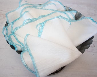 Turquoise Unpaper Towels in bright white or natural birdseye - reusable paper towel alternative
