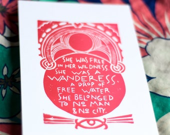 red ombre wanderess print