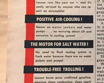 Vintage 1950 Lauson Motor Outboard Ad Advertising Boating Fishing New Holstein WI