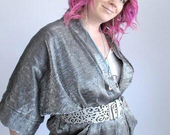 Crinkled Silver Silk Kimono Jacket, Metallic Kimono, Night Out Top, Wrap Jacket, Plus Size Jacket, Special Occasion Jacket. ONE Size (M-XL)