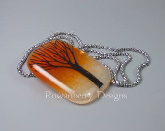 Winter Tree Silhouette - Fused & Painted Glass Pendant Necklace - Rowanberry Designs - art drawing painting FTR10