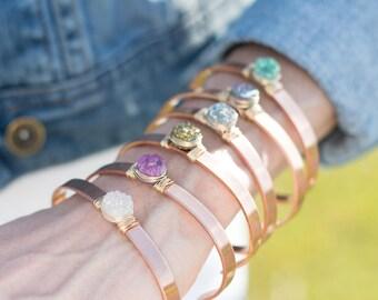 Druzy Stone Cuff Bracelet, Wire Wrap Bracelet, Drusy Bangle Bracelet, Gold Druzy Bracelet, Metal Druzy Bracelet, Bohemian Bracelet