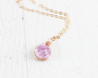 Pink Rose Gold Necklace, Light Pink Druzy Necklace, Druzy Gemstone Necklace, Rose Gold Druzy Necklace, Bridemaid Necklace, Wire Wrapped