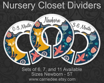 Fox Baby Clothes Dividers, Spring Foxes Nursery Closet Organizers, Baby Decor, Pixie Fox Decor, Large Navy Fox & Flora