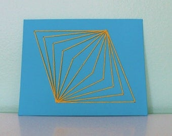 Blue and Yellow Midcentury Modern String Art Wall Hanging