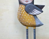 Anthropomorphic Folk Art Bird Hand-Painted Wooden Sculpture Doll Original Contemporary OOAK