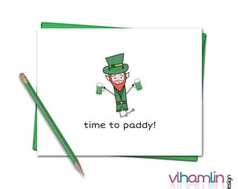 St Patricks Day Cards - Time To Paddy - Funny St Patricks Day Card - St Patricks Day Greeting Cards