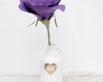 Second Wedding Anniversary Long Stem Purple Rose by Cotton Bird Designsmade to order check processing times