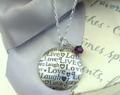 Love Laugh Live Sterling Pendant necklace 18 inch Sterling chain