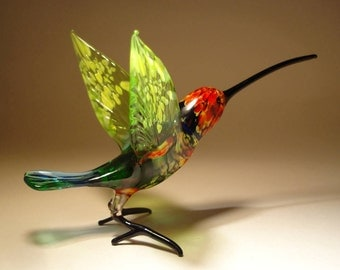 Handmade Blown Glass Figurine Art Bird Green, Blue and Red HUMMINGBIRD with a Long Beak