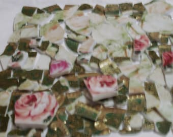 Mosaic Tiles - RESERVED   for Juli   Pink shades of Pink Roses w. Gold and Green Accent Tiles RESERVED for Juli