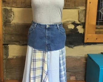 Womens Denim Skirt Boho Chic Hippie Patchwork Feastival Clothing Gypsy Skirt  Upcycled Clothes Repurposed Fashion Plus Size