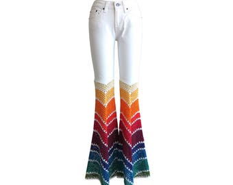 Custom Order - Add Bellbottoms to Your Own Jeans - Crochet -Rainbow Ombre