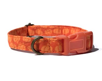 October Time - Orange Pumpkins Gourds Fall Autumn Organic Cotton CAT Collar Breakaway Safety - All Antique Brass Hardware