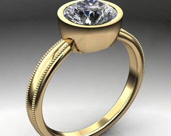 elle ring – 1.5 carat round NEO moissanite engagement ring, milgrain engagement ring