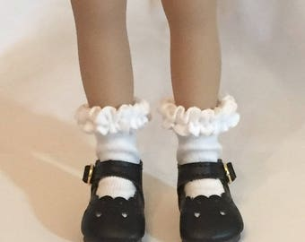 Effner Little Darling Doll Brand New Black Baby Heart Shoes With Whipped Cream White socks By TnTCreations