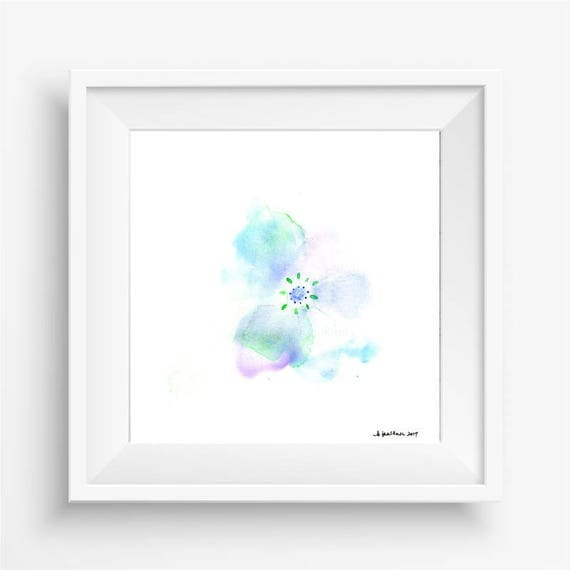 "Original watercolor flower painting: ""Pale Blue Blossom"""