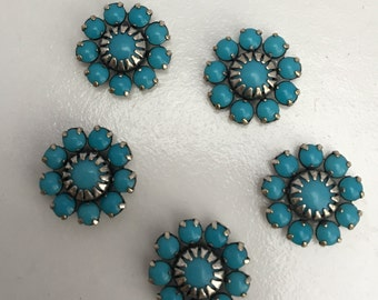 Silver Setting with Turquoise colored Beads